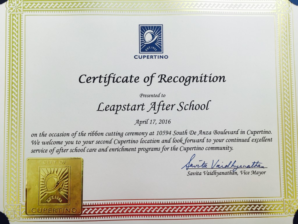 Leapstart after school receives certificate of recognition from 2016 08 01 1betcityfo Choice Image